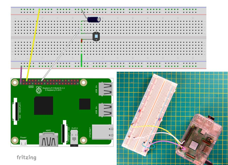 Raspberry Pi light sensor circuit