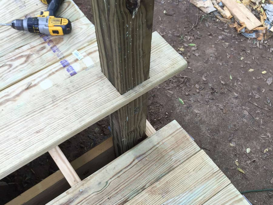 How to notch decking around a post