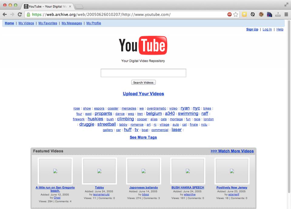 YouTube in 2005