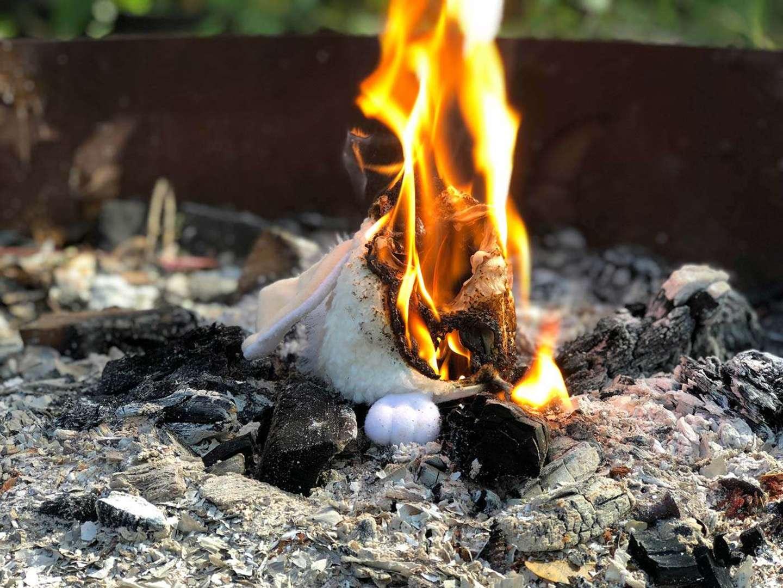 A Furby on fire