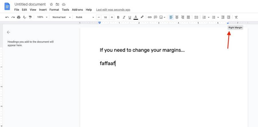 Changing Margins on Page Google Docs