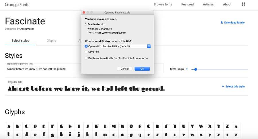 Google Fonts Download Fascinate Font