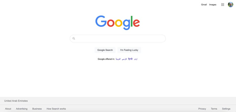 Google homepage 2021