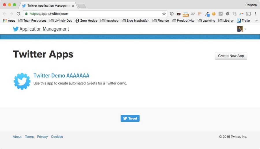 Create a Twitter application