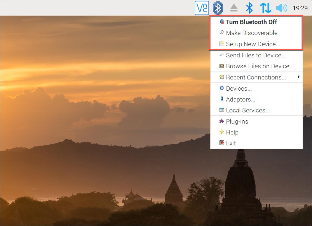 Raspberry Pi Bluetooth menu settings