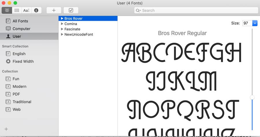 List of Fonts in Font Book