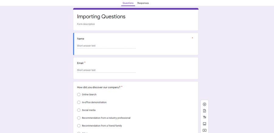 import questions from google form