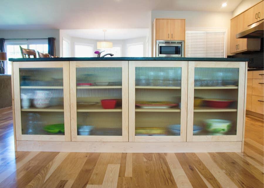 Glass cabinets doors.