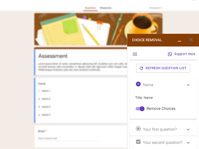 google forms addon choice removal