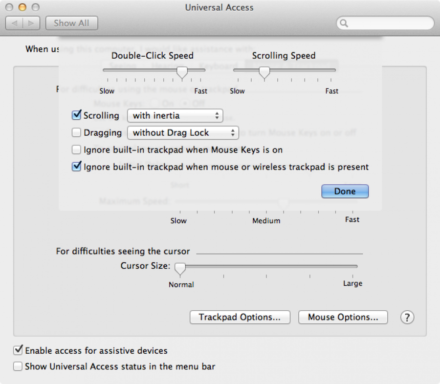 """Check the box for """"Ignore built-in trackpad when mouse or wireless trackpoint is present"""". Click Done."""