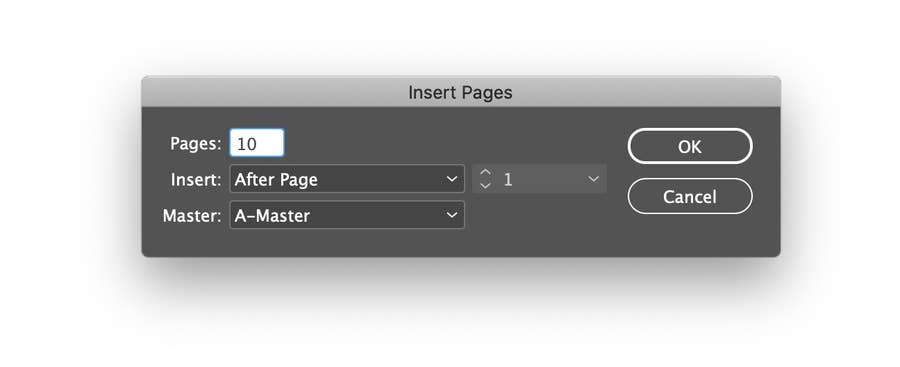 Insert Pages Screen in InDesign