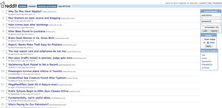Reddit original homepage