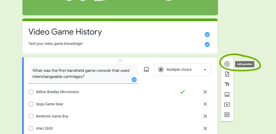 google forms create a quiz add question