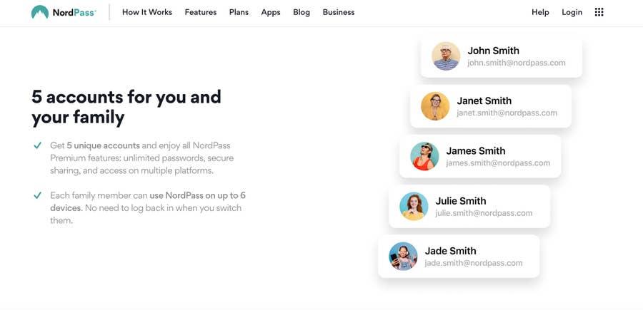 NordPass Family accounts