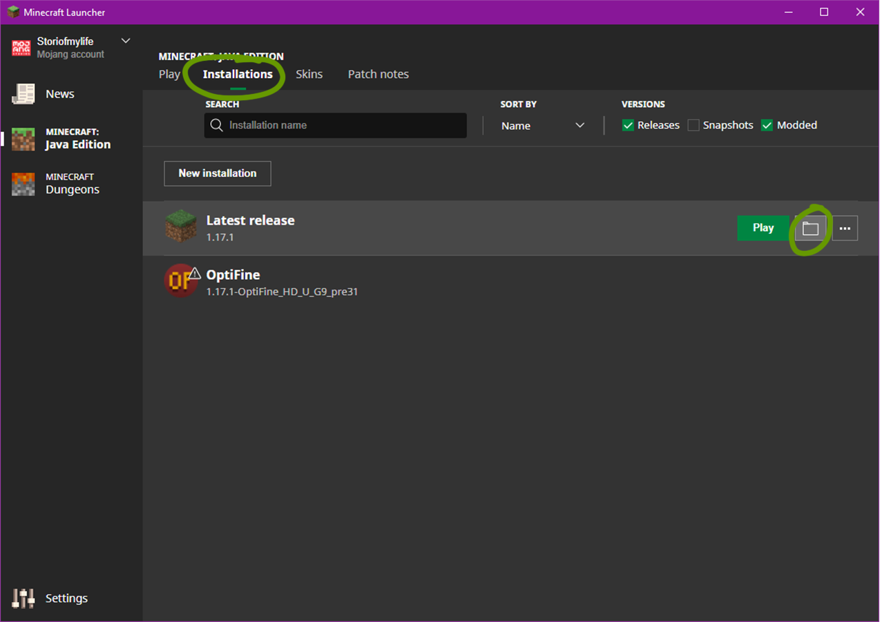 find the file path minecraft launcher