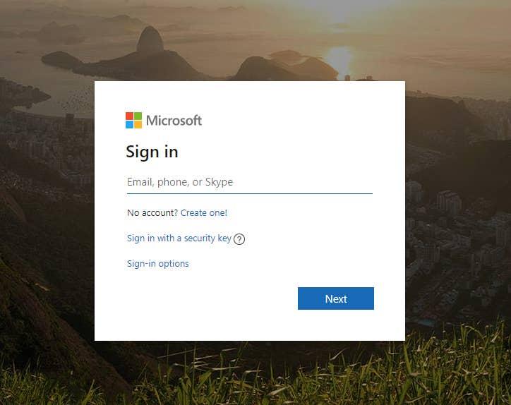 Microsoft Live Login Page