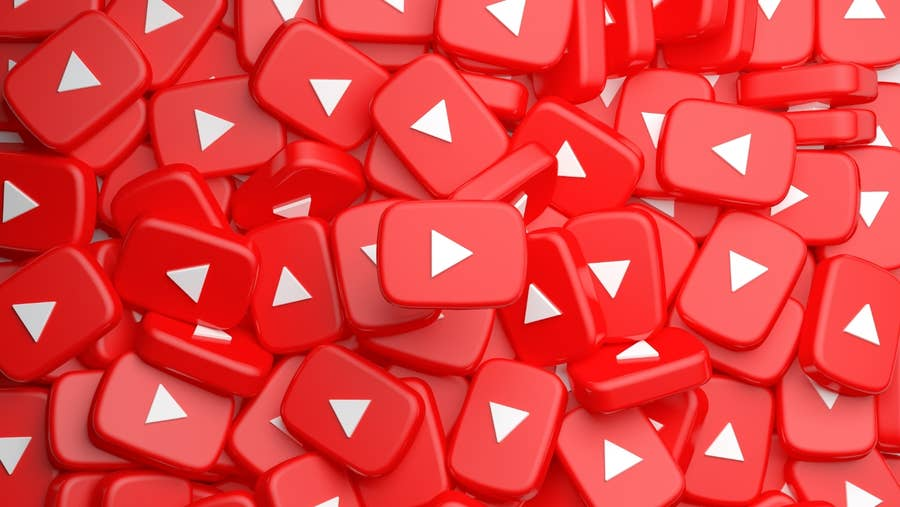 YouTube Red Buttons in a pile