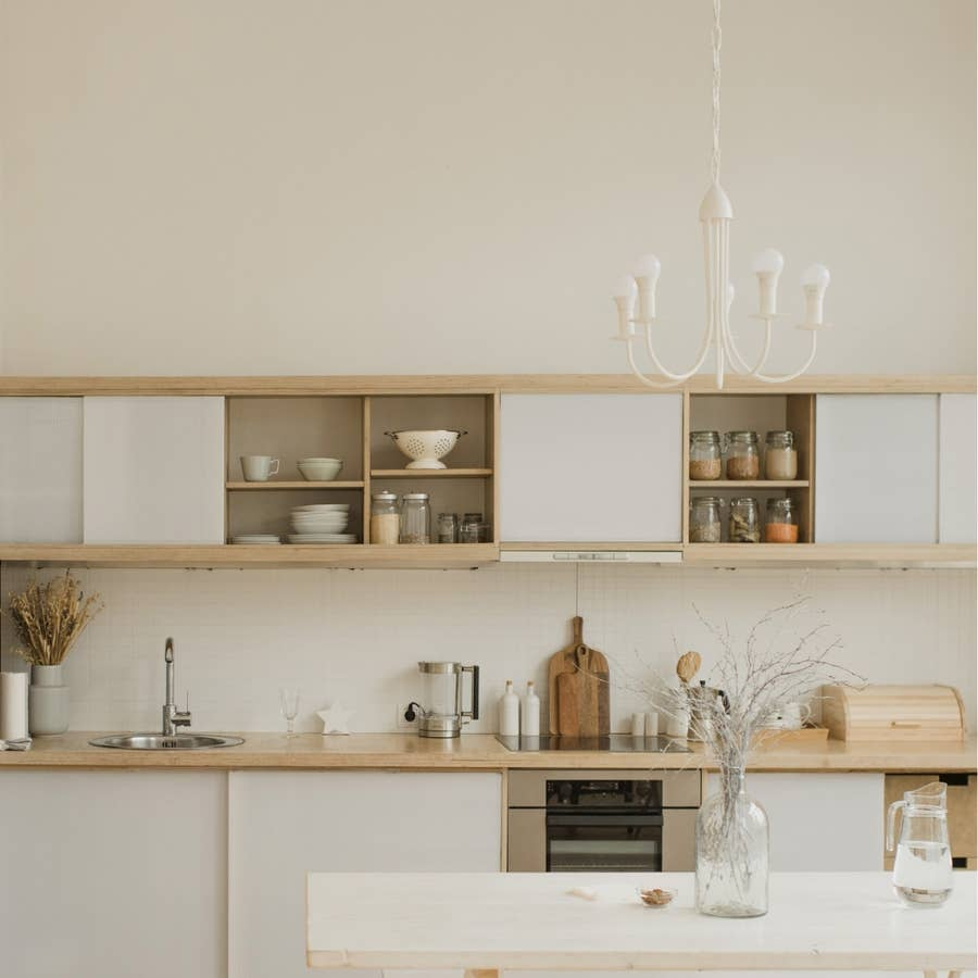 Organized cabinets.
