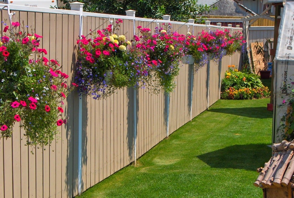 fence planter with flowers