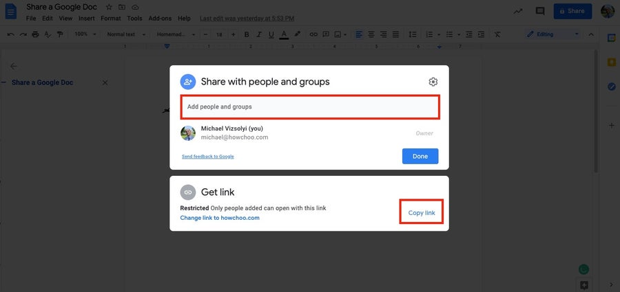 Share Google Doc with people or groups