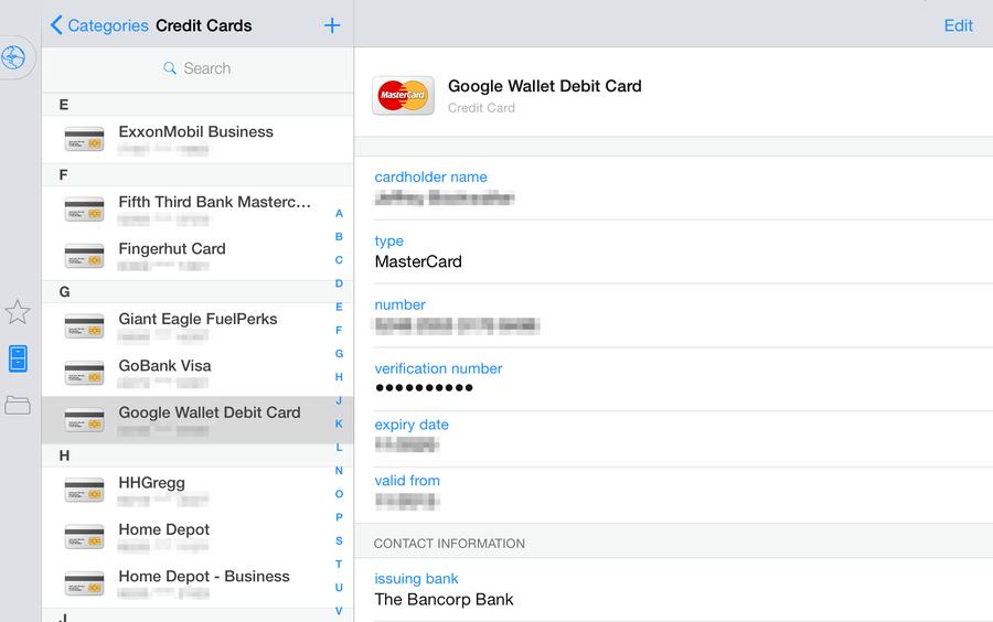 1Password Digital Wallet
