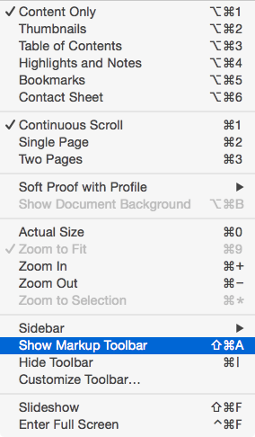Show the Markup Toolbar