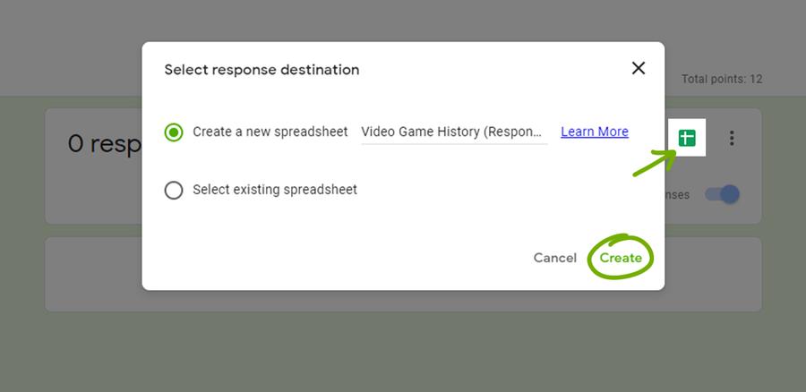 google forms create a quiz spreadsheet