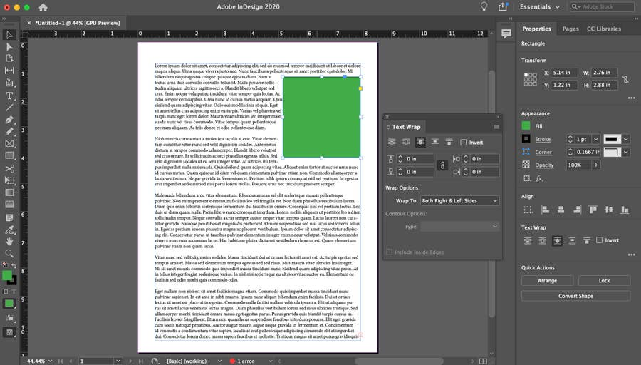Text Wrapped around Green Box InDesign