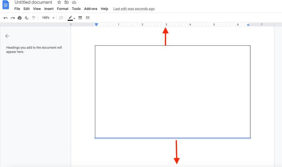 Resize border Google Docs