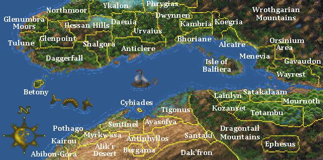 The Elder Scrolls II: Daggerfall map