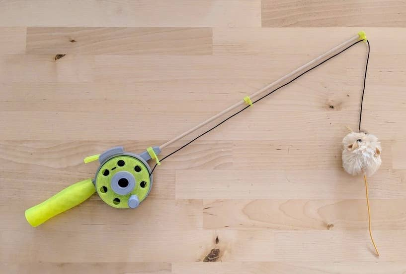 3d printed cat fishing rod toy