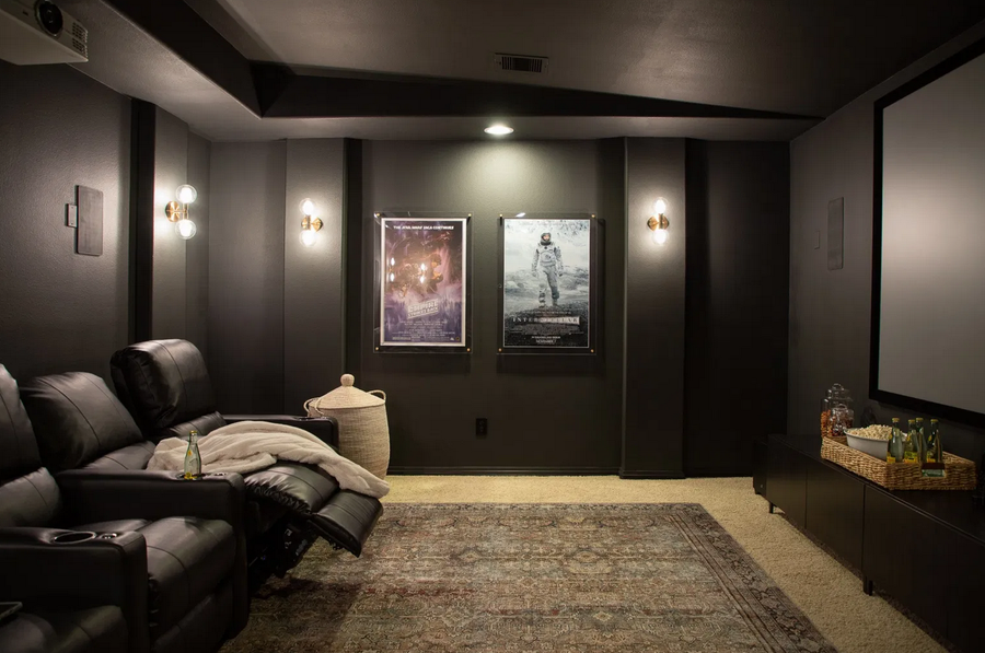 Sleek and and gorgeous DIY home theater