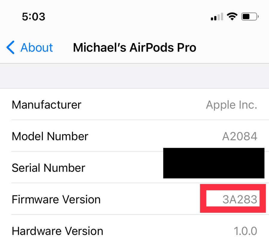 Firmware version airpods pro