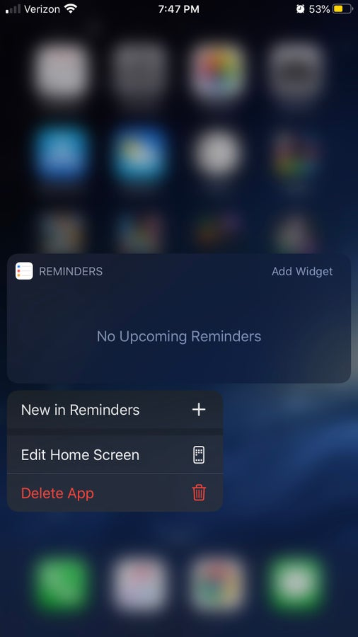 iPhone 3D touch menu option