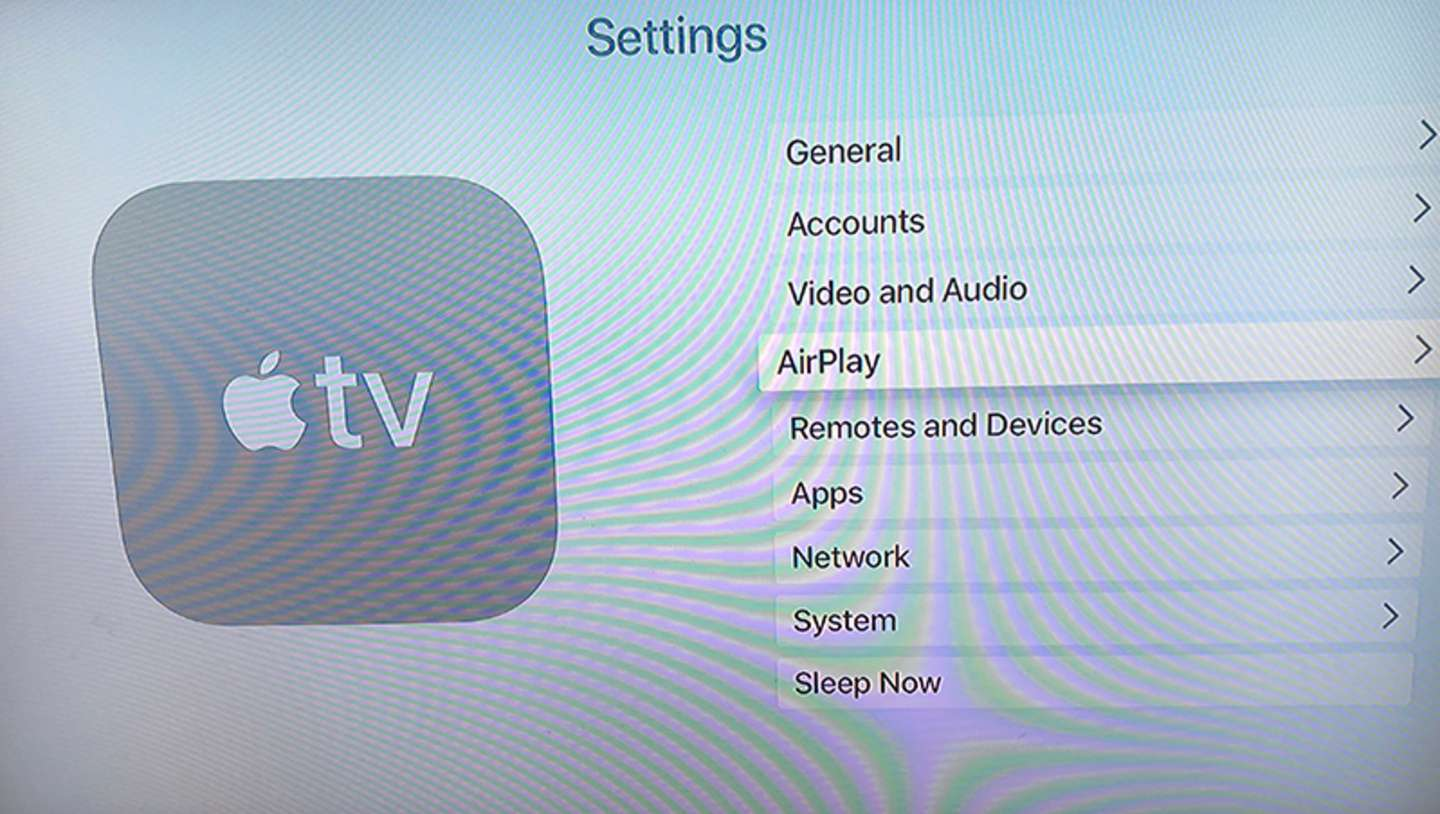 Locate the Airplay Settings