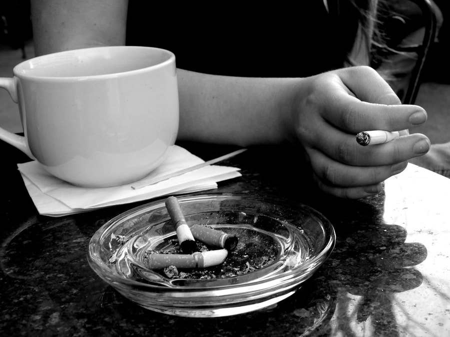 cigarettes on diner table