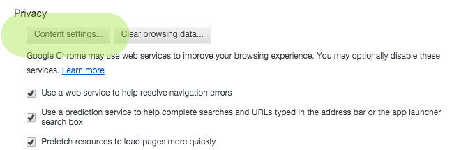 """Under privacy click """"Content settings..."""""""