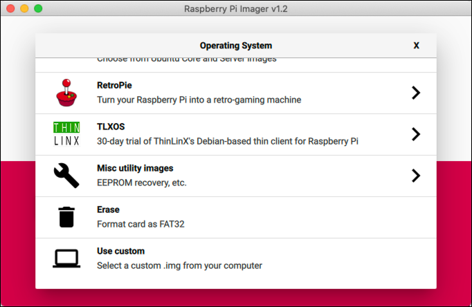 The Raspberry Pi Imager software, with the Operating System selection screen visible