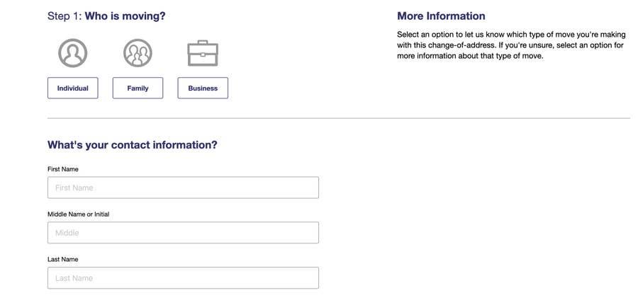 USPS Form Change of Address