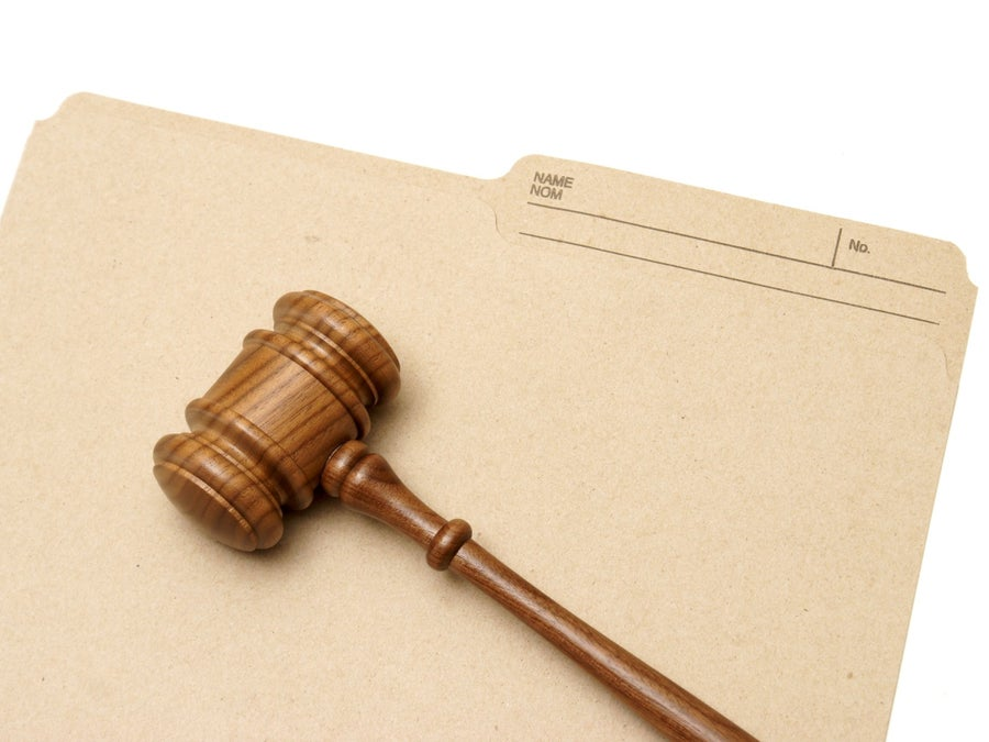 Legal file and gavel