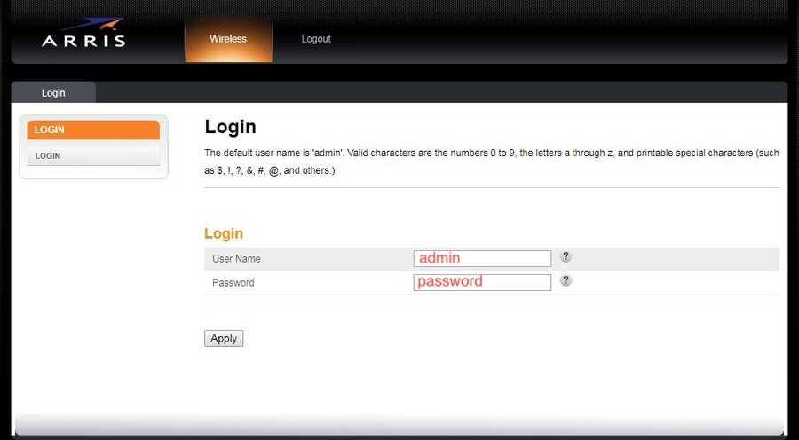 Arris Router Login Page