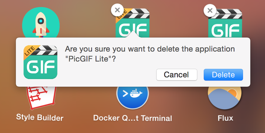 Confirm you want to delete the app