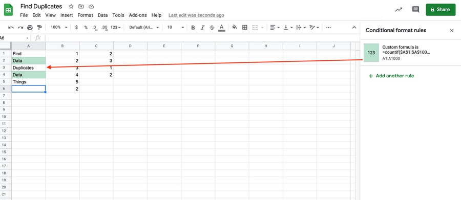 Duplicates in Column Google Sheets