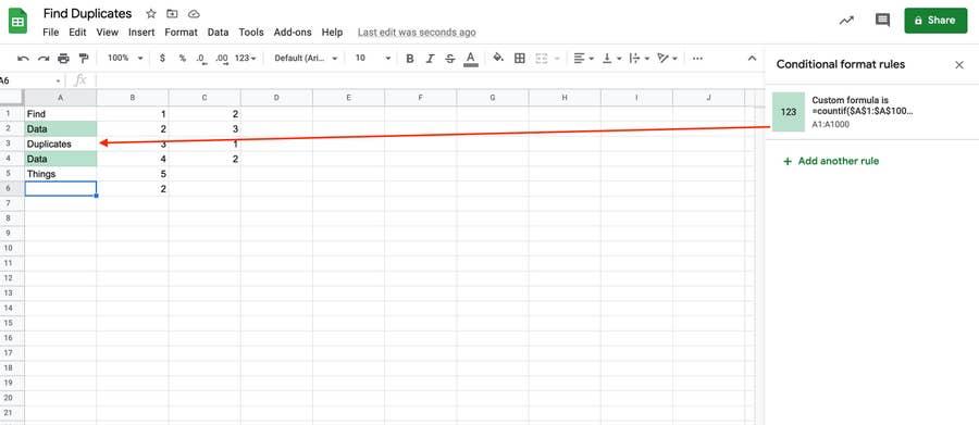 Duplicates in Column Google Sheets