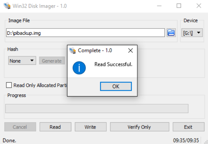 Verify the back up process is successful