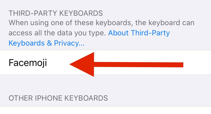 Arrow to Facemoji third-party keyboard