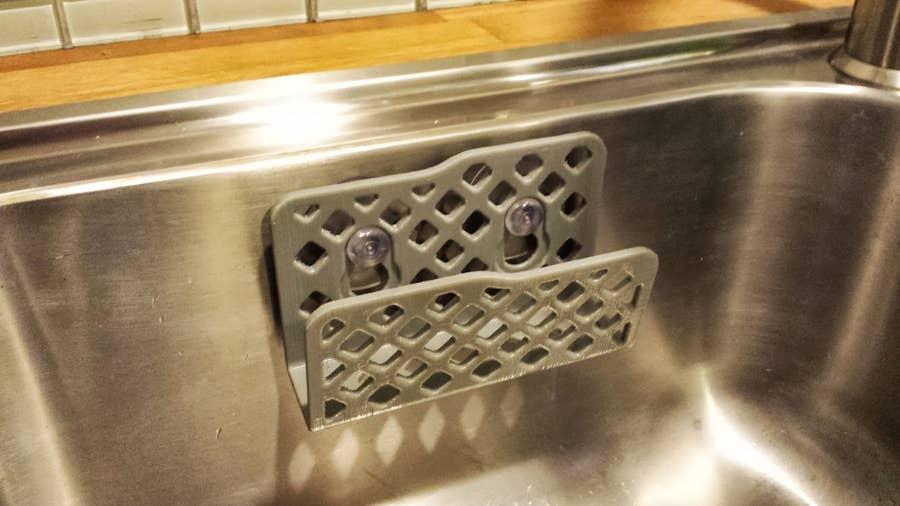 3D-printed suction cup kitchen sponge holder
