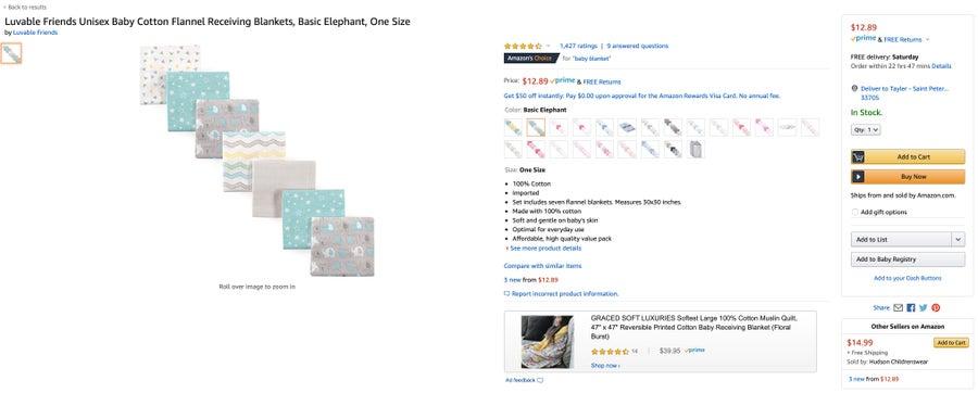 Amazon add item to baby registry