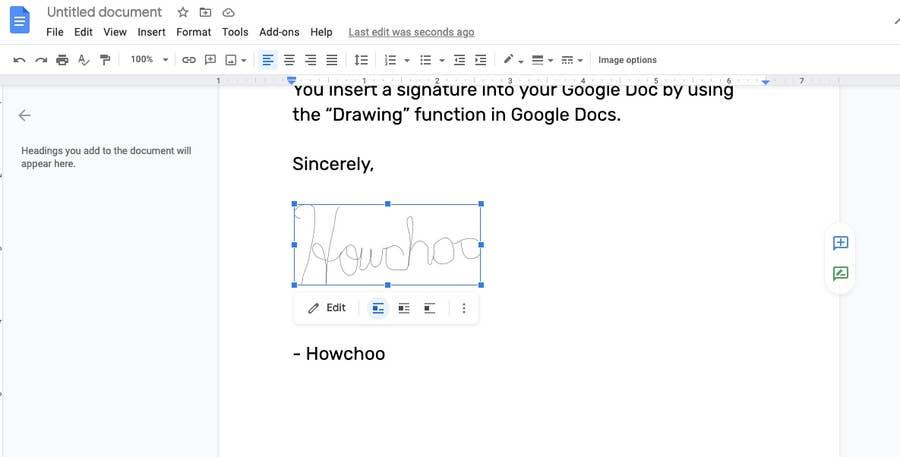 resize signature google docs