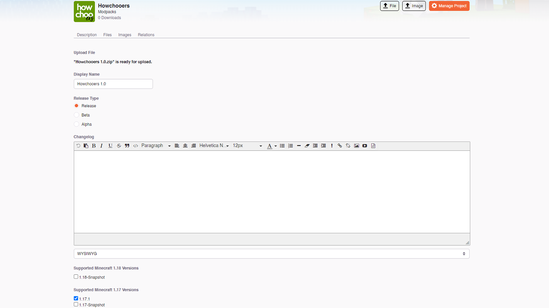 upload a file to curseforge